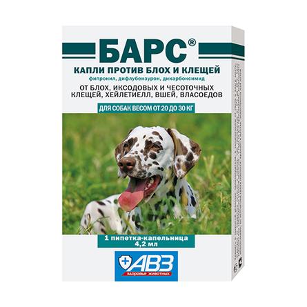 АВЗ Барс Капли от блох и клещей для собак от 20 до 30 кг, 1 пипетка, 4, 2 мл  - купить со скидкой