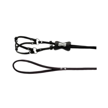 Dezzie Комплект для собак (шлейка+поводок), объем шеи 24 см, объем груди 30 см, черный фото