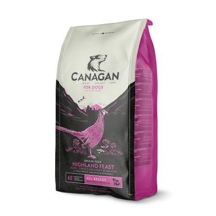 Купить Canagan Grain Free Highland Feast Беззерновой сухой корм для собак и щенков всех пород (утка с индейкой, фазаном и лососем), 12 кг