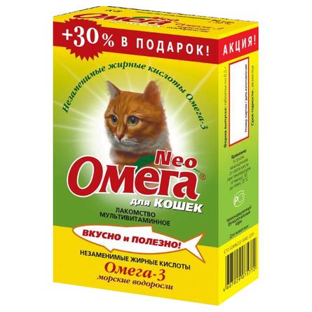 Купить Увеличенная упаковка Омега Neo мультивитаминное лакомство для кошек (с морскими водорослями), 117 таблеток