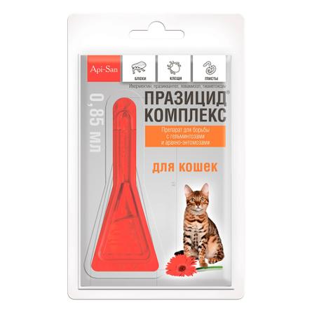 Купить Api-San Празицид-Комплекс Капли на холку для взрослых кошек от блох, клещей и гельминтов