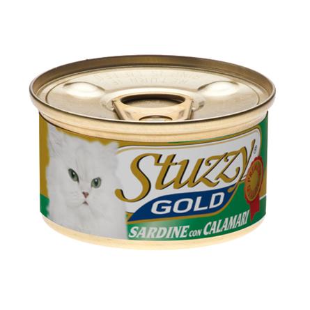 Stuzzy Gold Кусочки филе в собственном соку для взрослых кошек (с сардинами и кальмарами), 85 гр фото