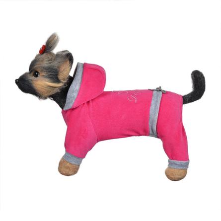 Купить DogModa Комбинезон велюровый Хоум для собак, длина спины 28 см, обхват шеи 29 см, обхват груди 45 см, розовый