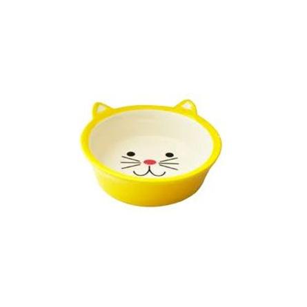 N1 Миска для кошек, в виде мордочки кошки, желтая, керамика, 250 мл фото