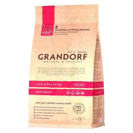 Купить Grandorf Lamb & Rice Adult Indoor Сухой корм для взрослых домашних кошек (с ягненком и рисом), 2 кг