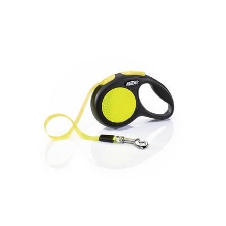 Flexi New Neon XS Поводок-рулетка для собак, черный/неон, ремень