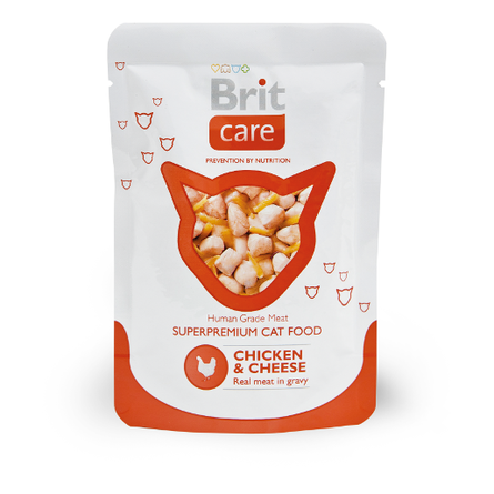 Купить Brit Care Cat Chicken&Cheese Кусочки филе в соусе для взрослых кошек (с курицей и сыром), 80 гр
