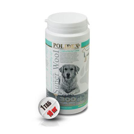 Polidex Super Wool plus Кормовая добавка для собак для шерсти и кожи, 300 таблеток