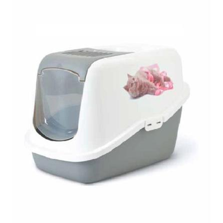 Купить Savic Nestor Impression Котенок с лентой Туалет-домик для кошек, серый