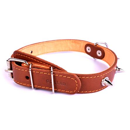 Купить CoLLaR Ошейник для собак двойной с шипами, ширина 2, 5 см, длина 38-50 см, коричневый
