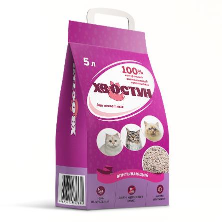 ХВОСТУН Наполнитель глиняный впитывающий для кошачьего туалета, 3 кг