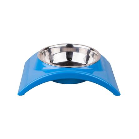 Dezzie Дуга Миска для собак на подставке, голубая, металл фото