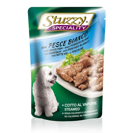 Stuzzy Speciality Dog con Pesce Bianco Кусочки паштета в соусе для взрослых собак всех пород (с треской), 100 гр фото