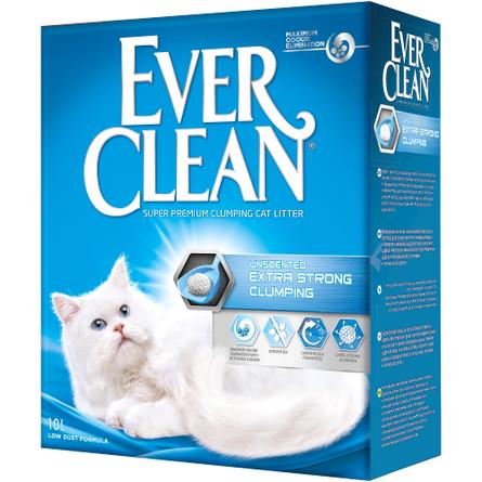 Ever Clean Extra Strong Clumping Unscented Комкующийся глиняный наполнитель для кошек (с активированным углем), 10 л фото