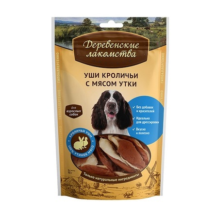 Деревенские лакомства Уши кроличьи с мясом утки для взрослых собак всех пород, 90 гр фото