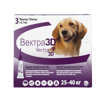 Купить Ceva Вектра 3D инсектицидные капли для собак 25-40 кг, 1 пипетка 4, 7 мл